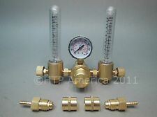DUAL HTP Argon CO2 Mig Tig Flow meter Regulator Welding Weld Double Backpurge