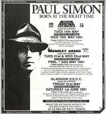 1/12/90 Pgn37 Advert: Paul Simon born At The Right Time Live In May91 6x6