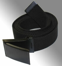 "NEW FLIP TOP ADJUSTABLE 54"" INCH MILITARY WEB CANVAS BLACK GOLF BELT BUCKLE"