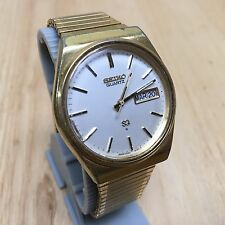 Vintage Seiko 8223 Mens Gold Tone Analog Quartz Watch Hours~Day Date~New Battery