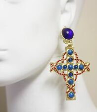 VTG GIVENCHY JEWELED GRIPOIX CABOCHON MALTESE CROSS CHANDELIER CLIP EARRINGS