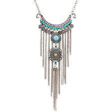 Women's Boho Turquoise Long Tassels Pendant Necklace Alloy Choker Chain Precious