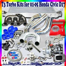 T3 Turbo Kits+ Manifold +DIY Piping for 01-05 Honda Civic D17 1.7L ONLY .48 A/R