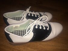Predictions Adult 50s Style Saddle Shoes Black White Faux Leather Oxfords 7 1/2