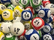 Bingo Balls - Top Quality Clear Coated 38MM 5 Solid Color 6 Number (GM-61-71Q6N)