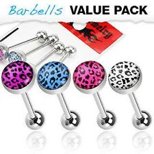 4 Pcs Assorted Color 316L Surgical Steel Leopard Print Logo Tongue Barbell Rings