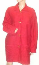 KAREN SCOTT  RED 100%  BOILED WOOL   LONG JACKET W/TOGGLE BUTTONS  NEW L