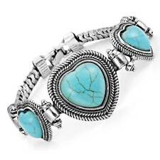 Unique Alloy Turquoise Hearts Vintage Jewelry Cuff Bracelet (Silver)