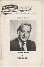 """Luther Adler  """"The Price""""   Playbill  1970  Playhouse on the Mall, Paramus, NJ"""