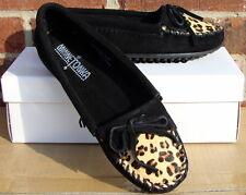 Minnetonka Women's Leopard Kilty Moc - Black Suede - 9