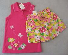 NEW Gymboree size 10-12 Girl Island Lily Pink Top Yellow Alligator Shorts RV $44