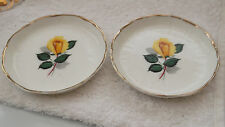TWO AYNSLEY CHINA COASTERS, PIN OR BUTTER DISHES WITH A YELLOW ROSE PATTERN