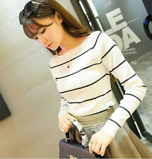 Korean Fashion Casual Womens Gils Striped Long Sleeve Knit Tops Blouse T shirt