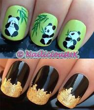 NAIL ART SET #177 CUTE PANDA BEARS WATER TRANSFERS/DECAL/STICKERS & GOLD LEAF