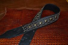 Carlino Paul Stanley Classic Style Studded Black leather Guitar Strap