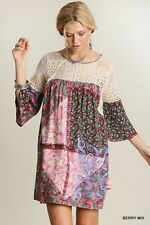 Berry Mix UMGEE Lace Paisley Floral Babydoll BOHO Hippie Print Tunic Top Dress M