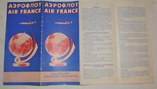 1958 AEROFLOT Soviet Russian Airlines POSTER booklet timetable AIR FRANCE map