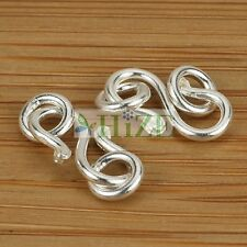 HIZE CN074 925 Sterling Silver Plain Snake S-hook Connector Clasps 20x8mm (6)