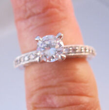 1.3ct CZ Solitaire Engagement Ring Rhodium Plated Copper Size 7 Vintage Jewelry