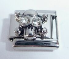 SKULL w/ CLEAR GEMS Eyes Italian Charm April 9mm Halloween fits Classic Bracelet