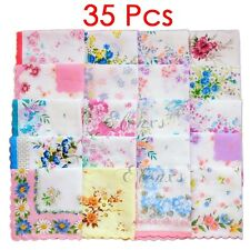 Vintage Women Quadrate Floral Cotton Handkerchiefs Wedding Party Hankies 35Pcs