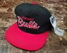 Chicago Bulls BNWT Vintage Sports Specialties NBA Script Black Snapback Cap Hat