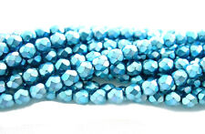 Turquoise Sparkle Faceted Glass Round Beads 6MM