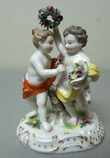 ADORABLE ANTIQUE HAND ENAMELED GERMAN PORCELAIN FIGURINE, CHILDREN w/ FLOWERS