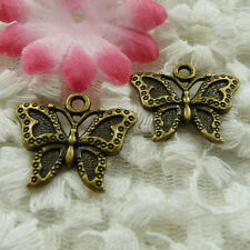 free ship 46 pieces bronze plated butterfly charms 23x19mm #3895