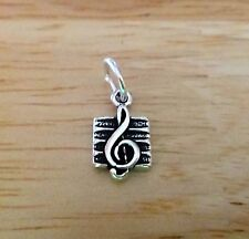 1 Sterling Silver TINY 12x7mm Treble Clef on Staff Music Charm!