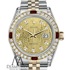 Rolex S/S Gold 36mm Datejust Champagne Gold Dial Ruby & Diamond Watch bezel