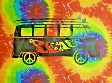 "Peace Bus Van - Tie Dye Tapestry 40"" x 45"" Trippy Wall hanging VW Bus Volkswagen"