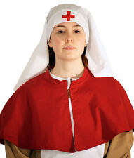 larp-WW1/Victorian/Wartime/WW2-CRIMSON FIELD NURSE'S HEADDRESS & SHOULDER CAPE