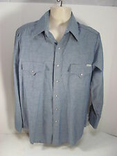 Vintage Genuine Roebucks Blue Denim Style Western Shirt Size Large L
