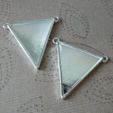 5 pcs Silver tone Blanks, Setting, Pendant or Connector Triangle
