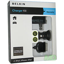 OEM Belkin 3 in 1 USB Car Vehicle AC Wall Charger for Apple iPhone 4 4G 4S NEW