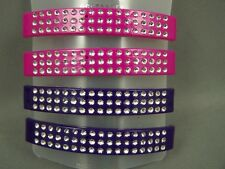 "Purple Pink barrette set pack 4 plastic curved silver sparkly hair clip 3"" long"