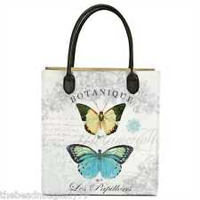 NEW MODERN VINTAGE AQUA BLUE YELLOW BUTTERFLY TOTE PURSE BAG