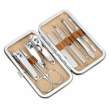 New 10pc Pedicure / Manicure Set Nail Clippers Cleaner Cuticle Grooming Kit Case