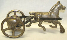 Old Antique Cast Iron Horse Buggy Bell Pull Toy Marked Made In USA