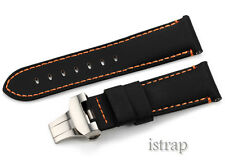 24mm Balck Kevlar Leather Watch Band Strap Deployment Clasp For PAM Luminor