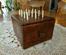Vintage Wood Sewing Box w/Drawer & Spool Holders 5.25t×7.5w×8d