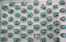 Mixed Job Lots 25pcs Nature Turquoise stone Silver Band Men's fashion Party ring