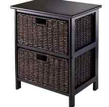 Wicker End Table Furniture Accent Side Baskets Living Storage Drawer Traditional