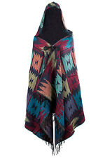 Ladies Warm Hooded Hooded Shawl Pashmina Ponchos Cape scarf with fringe Blue L3