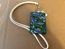 COACH IN ROSE MEADOW FLORAL PRINT Lanyard ID Badge Card Holder F57990 BLUE NWT