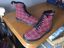 Vintage Dr Martens 1460 Red tartan textile boots UK 7 EU 41 England skin punk