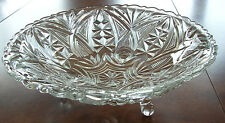 """Vintage Cut glass footed candy dish 9"""" x 3"""" potpourri scalloped edge decorative"""