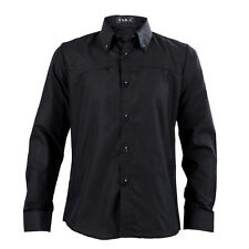 New men shirt casual slim fit mens dress shirts 4XL black SH