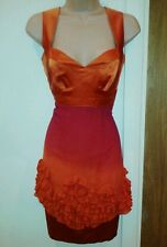 Womens dress Karen Millen party evening festive xmas orange pink cocktail 8